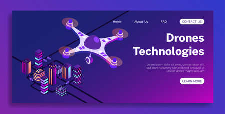Isometric vector drone technologies 3d illustration. Include neon city, trees, roads, transport, drone.