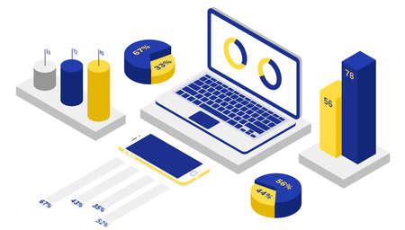 Vector 3d isometric data analysis illustration with laptop and diagrams Standard-Bild - 139677268