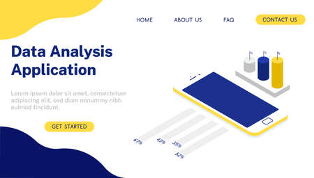 Data Analysis application with smartphone landing page. Vector 3d isometric illustration.