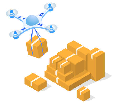 Delivery of packages and orders using a drone vector 3D illustration.