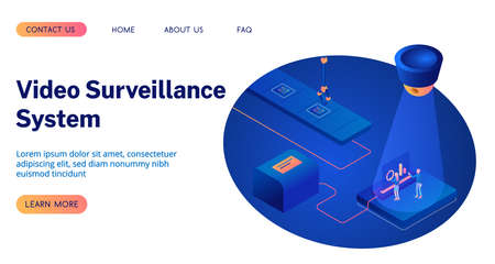 CCTV or video surveillance system isometric 3D vector illustration landing page. Illustration