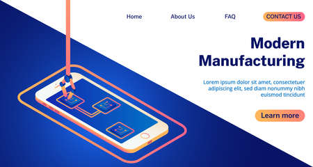 Modern mafacturing with smartphone isometric 3D vector illustration landing page.