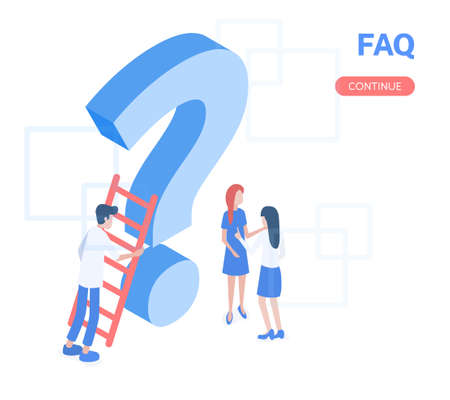 Modern vector isometric 3D answers to FAQ of users with illustration. 向量圖像