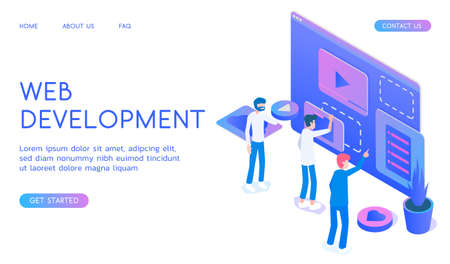 Stylish gradient isometric vector Web development and UI UX design with designers illustration.