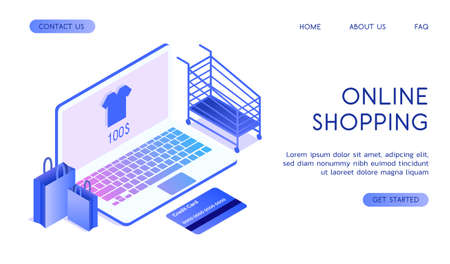 Online shopping concept with gradient. Online purchases through the Internet. The laptop is on a white background, next to are packages, a trolley and a credit card