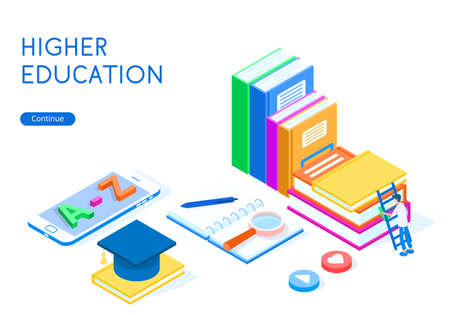 Online education concept. A student climbs onto a stack of books, next to it lies a smartphone and a graduate hat. White background