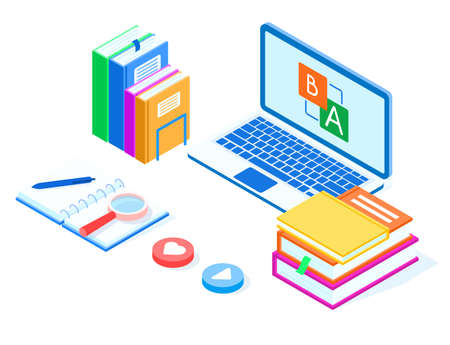 Online education language concept. Laptop, stack of books with a magnifier and button with heart, isometric vector