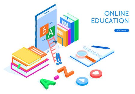 Online education language with student concept. Laptop, stack of books with a magnifier and button with heart, isometric vector