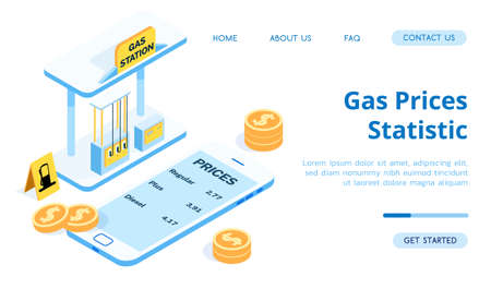 Blue gas station for cars. Application for a phone with price tags for gasoline and fuel. Smartphone, money, coins, refueling vector isometric illustration.