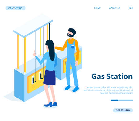Vector isometric blue Gas Station with yellow banner illustration. Fuel, hoses for a set of gasoline, a sign with the name of the gas station