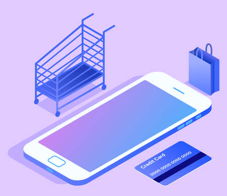 Online shopping concept. On the screen of the smartphone, near a credit card, next to a shopping trolley and shopping bags. Isometric vector