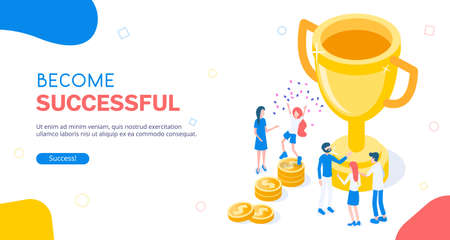 Stylish vector isometric Successful Teamworking illustration. Big golden goblet with people and team. Around lie gold coins as success