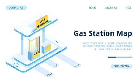 Blue gas station for cars. Refueling navigation on your smartphone and other gadgets. Online gas prices. 向量圖像