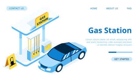 Modern vector isometric Gas Station illustration.