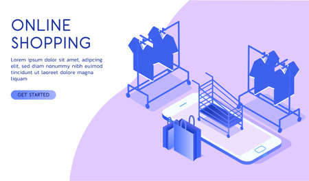 Online shopping concept. Shopping basket and clothes hangers. Isometric vector 向量圖像
