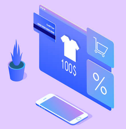 Online shopping concept with gradient. On the browser screen is a T-shirt with a price and a credit card, next to a white smartphone is a smartphone.