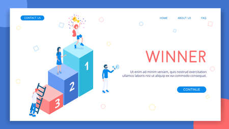 Ladder with numbers of winning places. The winner in the first place rejoices in his hard work and success. Isometric vector Standard-Bild - 142509309