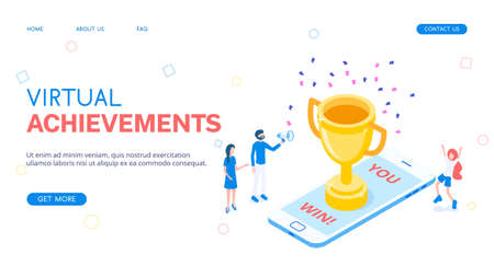 Virtual achievement for winning the game. Gold cup or prize on a smartphone. Isometric vector
