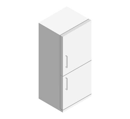 White refrigerator as an element for a common kitchen set on a white background isometric vector illustration
