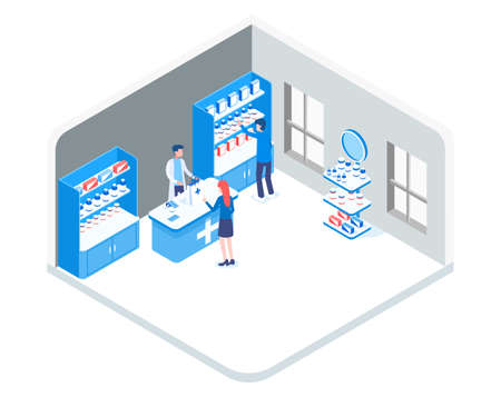 Concept of a blue pharmacy in a gray room with seller and buyers. Various medicines and cold remedies