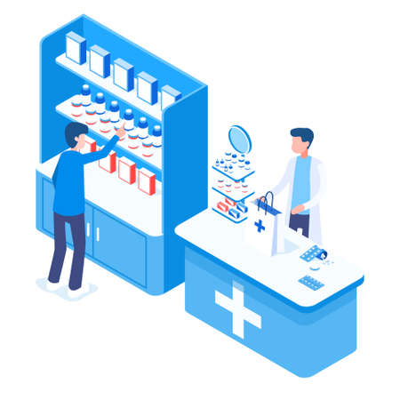 Concept of a blue pharmacy with seller and buyers. Various medicines and cold remedies isometric vector illustration 向量圖像