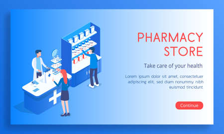Landing concept of a blue pharmacy with seller and buyers. banner Various medicines and medicines for colds isometric vector illustration