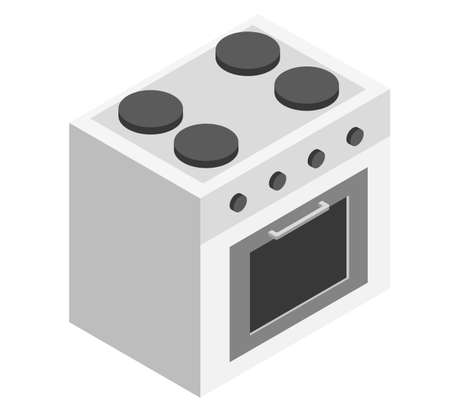 White stove as an element for a common kitchen set on a white background vector isometric illustration 向量圖像