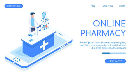 Landing concept of a blue pharmacy with seller. banner Various medicines and medicines for colds isometric vector illustration