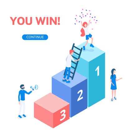 Ladder with numbers of winning places. Pedestal with a prize and an award for the team work done. Isometric vector