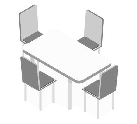 White kitchen table as an element for a common kitchen set on a white background isometric illustration vector