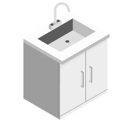 White kitchen cabinet as an element for a common kitchen set on a white background isometric illustration vector