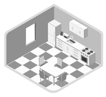 White kitchen room as an element for a common kitchen set on a white background isometric illustration vector