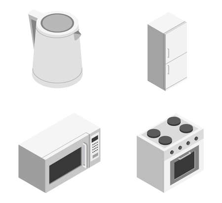 White kitchen kettle, fridge, stove, microwave as an element for a common kitchen set on a white background isometric illustration vector
