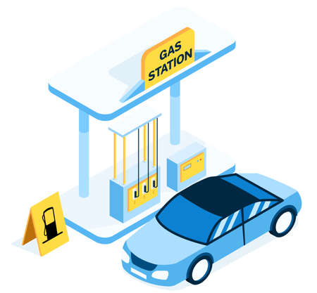Blue gas station for cars. The blue car arrived at the gas station. Gas Station with yellow banner illustration.