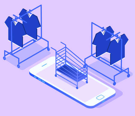 Online shopping concept gradient. Shopping basket and clothes hangers. Isometric vector 向量圖像