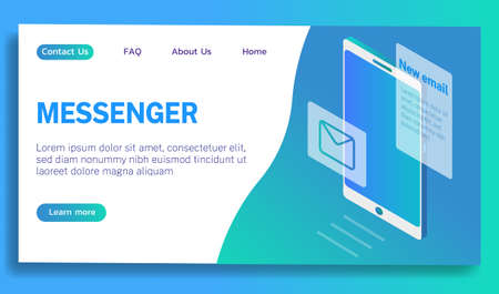 The concept of a new messenger for personal and commercial use vector illustration blue gradient. Promotion in social networks.