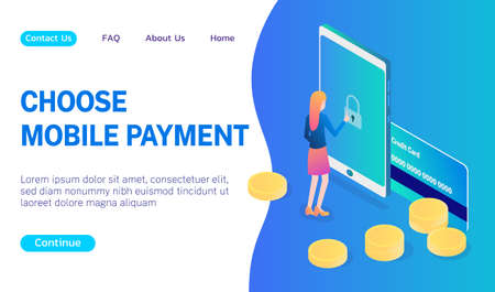 Concept of a user choosing a payment method for purchases blue gradient vector illustration. New mobile application for bank and bank payments. 向量圖像