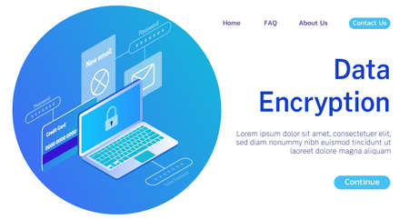 The concept of protection and encryption of personal and commercial data vector illustration blue gradient. Protection of online payments and sending messages