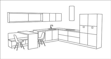modern kitchen: Contemporary minimalistic kitchen design concept for modern house. Vector isolated.