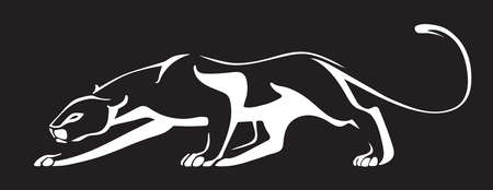 black and white panther: White silhouette of panther on black background. Vector illustration.