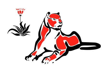lioness: Tiger lying down, black and red on white background, vector isolated.