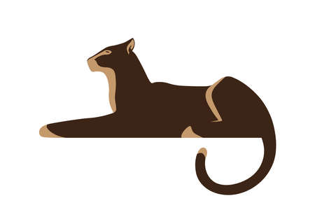 Silhouette of panther, isolated on white background. Wild animal as logo or mascot. Vector illustration.