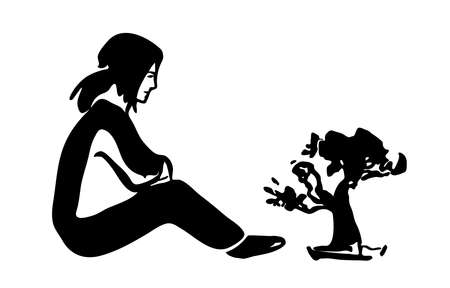 small tree: Sitting girl and small tree, black silhouette on white background. Vector illustration.