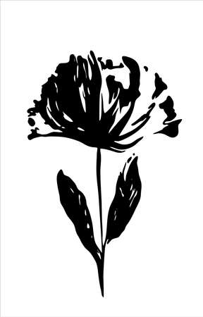 isolated flower: Black silhouette of a flower on white background. Vector isolated.