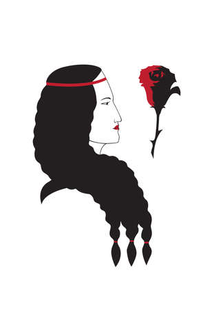Girl profile head with rose, image of Spaniard, vector isolated.