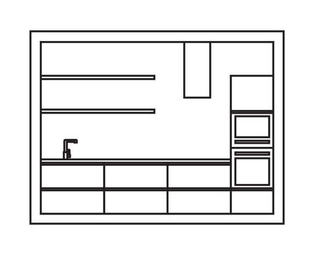 kitchen furniture: Kitchen interior plan. Draft of modern kitchen furniture made in line art style. Vector isolated. Illustration
