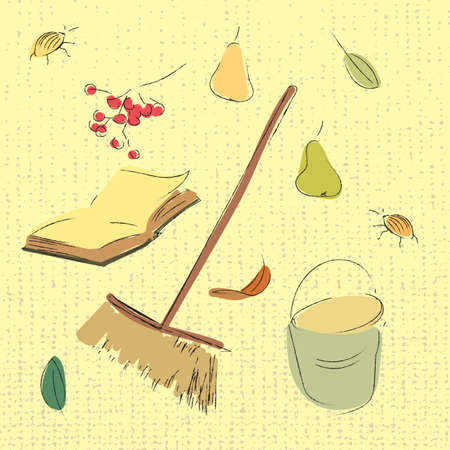 Autumn garden set. Pears, leaves, book, ashberry and bucket sketch illustration. Hand drawn vector image.