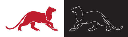 Two panther silhouette, vector outline of wildcat for logo or mascot. Isolated clip art.