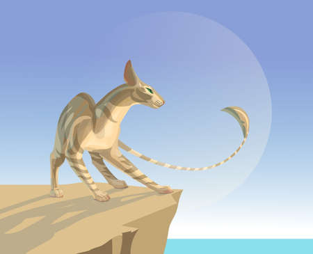 Oriental cat on a rocky seashore looking at a big planet in a blue sky. Illustration