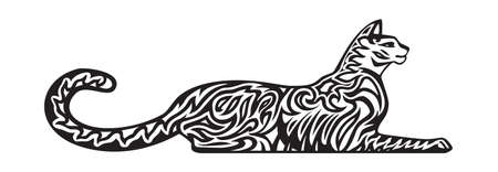 Decorative stylized cat lying down. Vector illustration. Black and white image. Vettoriali